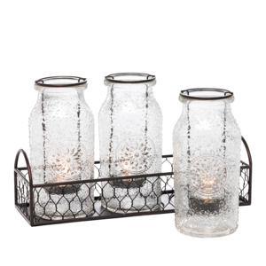 PartyLite Vintage Milk Bottle Tealight Holder Set